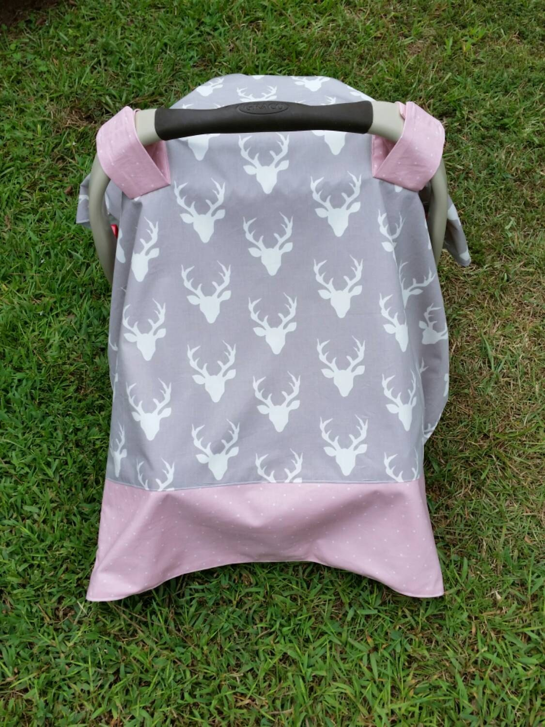 Car Seat Cover In Antlers And Pink Gray And Pink Baby Car