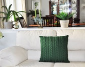 Dark Green Pillow Case 20X20 Square Pillow Knit Pillow Cable Pillow Case