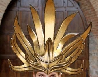 MADE TO ORDER -  headdress  fantasy larp gold fantasy renaissance burning man oriental Empire of the Sun Sleepy Jackson Luke Steele