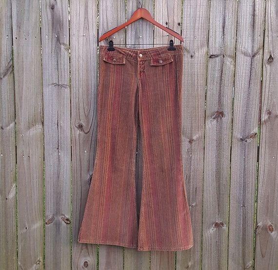 L XL Extra Large Vintage 90s l.e.i. Brown Striped Corduroy Button Fly Raver Bell Bottoms Flared Alternative Grunge Pants Jeans Denim Cords