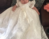 Reserved for Tara - Beaded Alencon Lace Christening Gown, Baptism Gown