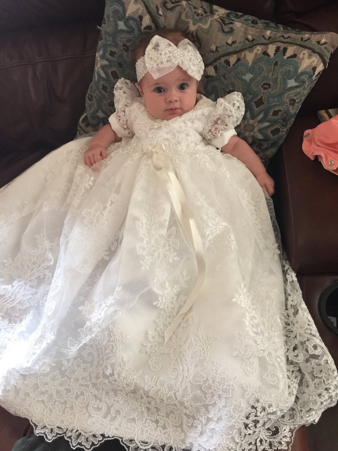 Beaded Alencon Lace Christening Gown Baptism Gown by Caremour