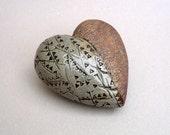 Heart Pillow , Ceramic Sculpture, Sage Green  Ceramic Heart