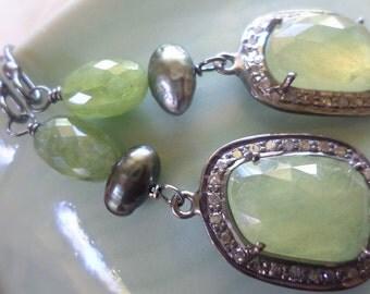 Pave Diamond Earrings, Rose Cut Green Sapphire Earrings, Tahitian Keishi Pearl Earrings, Genuine Diamond, Sterling Silver Earrings Jewelry