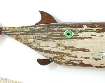 Aunt Chovy #5, Reclaimed wood and rusty steel fish art, salvaged original chippy painted surface, folk art