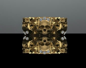 Regal Skull Diamond Band 18K Gold with Diamonds 8mm Wide