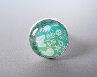 Ring - Papercut Illustration - Aqua Green Flowers -Adjustable Silver Ring