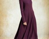 wool winter dress in purple, maxi dress with tucks, wool dress, winter dress, long wool dress, longsleeve dress, long kaftan