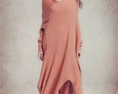 Wool Dress in Soft Pink, Blue and Black, Asymmetrical Kaftan Dress, Oversized dress, Maxi Dress, Long Wool Dress, Winter Dress