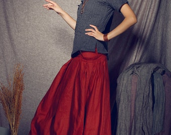 maxi skirt, long skirt, Red skirt, Pleated Skirt, linen skirt, Full Skirt, flared skirt,pocket skirt, made to order