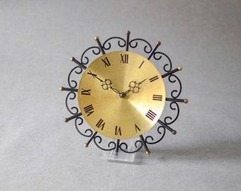 Vintage East German wall clock Weimar GDR brass starburst sunburst Mid Century