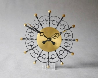Vintage East German wall clock Weimar GDR brass starburst sunburst Mid Century