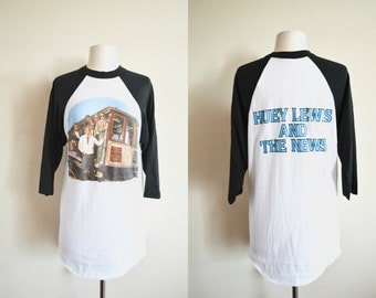 1984 Huey Lewis and the News Tour T-shirt, Concert Tee, Baseball Style Shirt, Deadstock, Paper Thin Raglan Tee