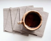 Coasters set - natural linen cup coasters - party coasters - mug coaster - glass coasters - coasters set of 6 - 0390