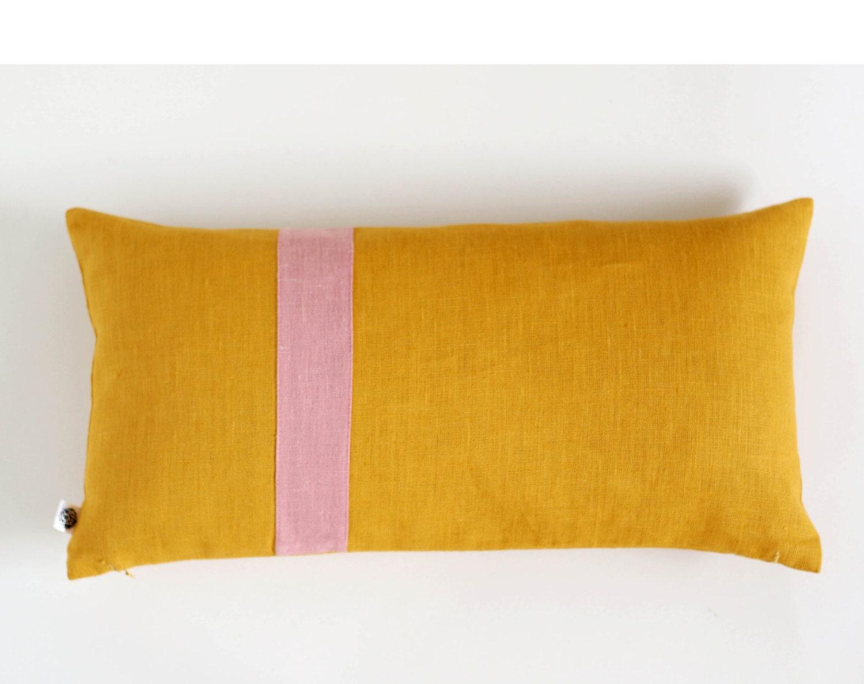 Mustard small lumbar throw pillow pillow cover by pillowlink for Small toss pillows