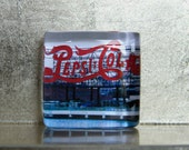 1.5-inch Square Glass Super Strong Photo Magnet: LIC New York NYC Pepsi Sign