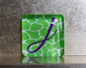 1.5-inch Square Glass Super Strong Magnet with Custom J Initial Monogram Green Purple
