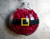 Santa's Belly Christmas Ornament, Glass Ball, Cute Holiday Decoration, Tree Ornament, Santa Claus