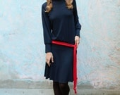 turtleneck dress in red or in blue