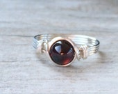 Garnet Wire Wrapped Ring, Garnet Gemstone Ring, Sterling Silver Filled Ring, Any Size