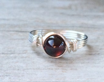 Garnet Ring, Garnet Jewelry, January Birthstone, Sterling Silver Filled Rings, Silver Rings