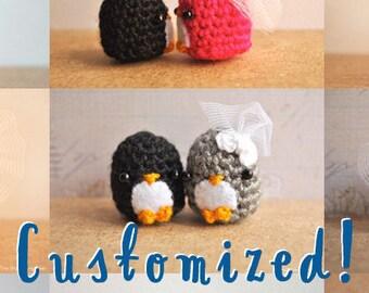 Penguin wedding cake topper, wedding gift, kawaii penguins, bridal shower gift, penguin gift, bridal shower cake topper, penguin cake topper