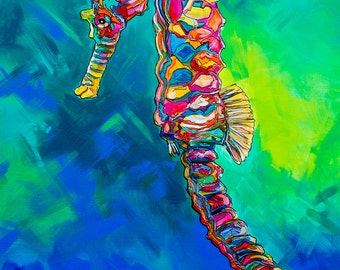 Seahorse Blues-Giclee by Jen Callahan Canvas Wrap