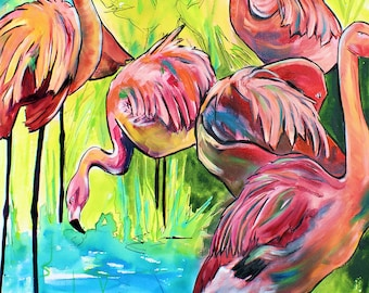 Flamingo Oil-Giclee by Jen Callahan Canvas Wrap