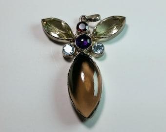 Sterling Silver Dragonfly Gemstone Pendant 63mm x 45mm