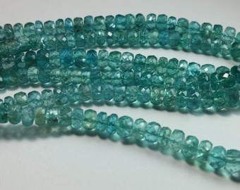 Teal Blue Green Apatite Faceted Rondelle Graduating Beads 4mm - 6mm