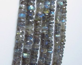 Labradorite  Faceted Roundelle Beads 4mm
