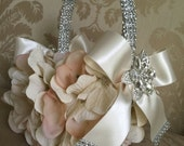 CUSTOM flower girl basket blush/ivory wedding flower girl keepsake basket for flower girls