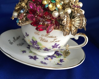 custom  brooch bouquet with vintage teacup for mother of the bride birthday gift housewarming gift thank you gift mother's day gift
