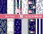 Blue Navy Floral Digital Paper Pack, Blue Floral digital Scrapbook - Digital Backgrounds, Floral Digital Paper - INSTANT DOWNLOAD - 1976