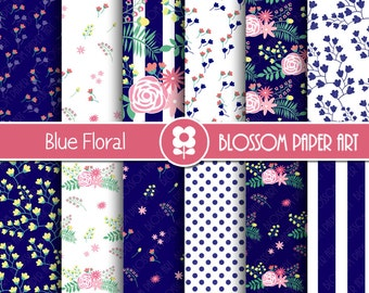 Blue Navy Floral Digital Paper Pack, Blue Floral digital Scrapbook - Digital Backgrounds, Floral Digital Paper - INSTANT DOWNLOAD - 1976