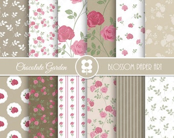 Roses Digital Paper, Shabby Chic Digital Paper Pack, Rose Scrapbook Paper, Roses Scrapbook Paper Pack  - INSTANT DOWNLOAD  - 1992
