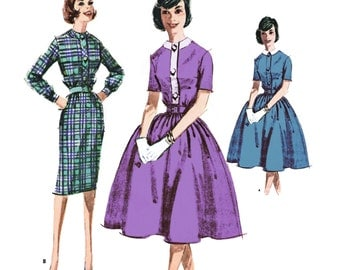 """1961 Detachable Collar Shirtwaist Dress, Jewel Neck, Pencil or Gathered Skirt, Short Sleeve or Long with Cuff, McCall's 6002, Bust 32"""" Uncut"""