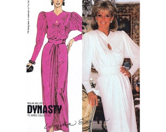 """1984 Vintage Nolan Miller's Dynasty TV Series Collection, Linda Evans Gown, Keyhole Neckline, For Knits, McCall's 9240, Bust 34"""", Uncut"""