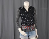 Black top striped top white blouse floral bohemian women size XS or S extra small or small