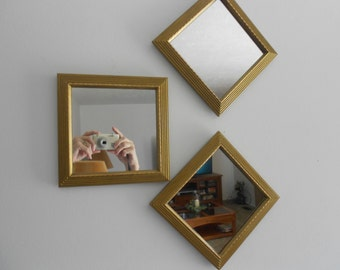 Vintage gold mirrors by Home Interiors, wall hangings, upcycled