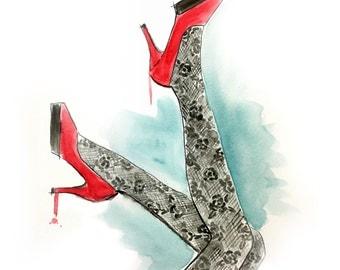 Watercolor Fashion Illustration Print
