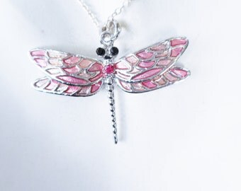 Dragonfly necklace, pink necklace, dragonflies, dragonfly jewelry, pink dragonfly necklace, enamel necklace, dragonfly pendant, pink pendant