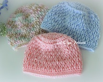 Newborn Baby Beanie Hat Crochet Pattern, Size 0-3 Months, Boys and Girls Hat, Easy to Make, Instant Download