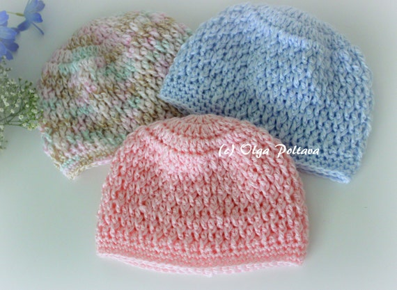 Crochet Baby Hat Patterns 0 3 Months : Newborn Baby Beanie Hat Crochet Pattern Size 0-3 Months Boys