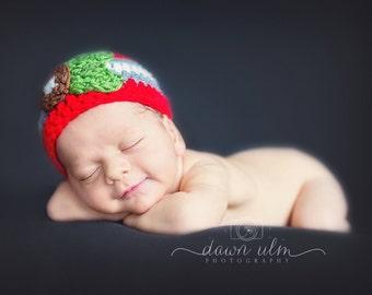Ohio State Buckeye Newborn Beanie Hat, OSU Hat, Buckeye Hat, Ohio State, Baby Hat