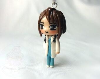 Customized Doctor/Nurse polymer clay, medical, hospital, rn, gift, chibi, keychain