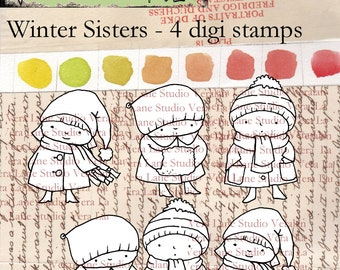 Winter Sisters Digi Stamp