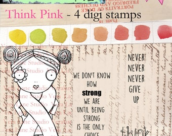 Pink - Confident and whimsical digi stamp gal to support breast cancer awarness- 4 image set available for instant download