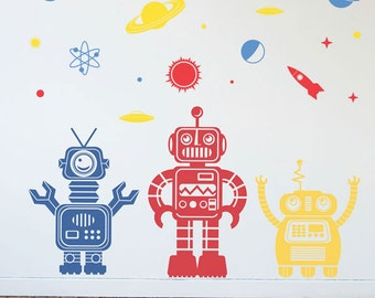Friendly 3 Space Scene Robot Collection- Space Robot Planets Space Vinyl Wall Art Decal Graphics for Kid's Rooms, Nurseries, Bedrooms