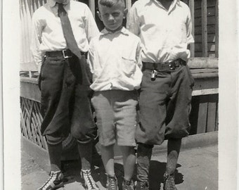 Old Photo 3 Boys wearing Knickers Sneakers White Shirts 1920s Photograph Snapshot Vintage
